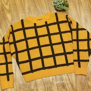 💎Lattice print gold and black hip length sweater